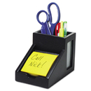 Victor VCT95055 Midnight Black Collection Pencil Cup With Note Holder, 4 X 6 3/10 X 4 1/2, Wood