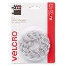 VELCRO USA, INC. VEK90090 Sticky-Back Hook And Loop Dot Fasteners, 5/8 Inch, White, 75/pack