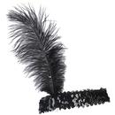 U.S. Toy CM65-01 Ostrich Feather Head Band / Black