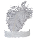 U.S. Toy CM65-11 Ostrich Feather Head Band / White