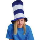 U.S. Toy KD10-69 Blue and White Striped Stove Pipe Top Hat
