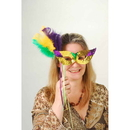 U.S. Toy OD285 Mardi Gras Sequin Mask with Feathers and Stick