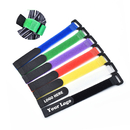 Custom Reusable Fastening Cable Ties Personalized Velcro Cable Tie Wraps Logo Printed, 6