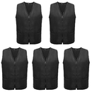 5 Pack Volunteer Vest Waiter Bartender Work Uniform, Supermarket Clerk Workwear