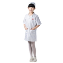 TOPTIE Kids' Short Sleeve Lab Coat With Cap, Doctor / Nurse Unisex Scrub Set