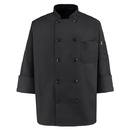Red Kap 0425BK Ten-Button Black Chef Coat - Black