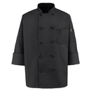 Red Kap 0427BK Ten-Button Black Chef Coat - Black