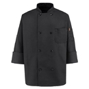 Chef Designs KT76BK Eight-Button Black Chef Coat - Black
