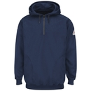 Bulwark SEH8NV Pullover Hooded Fleece Sweatshirt With 1/4 Zip - Cotton/Spandex Blend