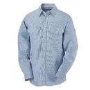 Bulwark SEU2WB Men's Button-Front Dress Uniform Striped Shirt  - White/Blue