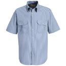 Red Kap SL60WB Short Sleeve Deluxe Uniform Shirt - White/Blue