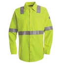 Bulwark SMW4HV Hi-Visibility Flame-Resistant Long Sleeve Work Shirt  - Yellow