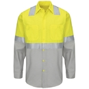 Red Kap SY14YG Long Sleeve Hi-Visibility Color Block Work Shirt: Class 2 Level 2 - SY14