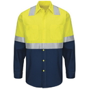 Red Kap SY14YN Hi-Visibility Long Sleeve Colorblock Ripstop Work Shirt - Type R, Class 2