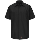 Red Kap SY20BK Short Sleeve Solid Crew Shirt, Black