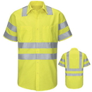 Red Kap SY24AB Hi-Visibility Short Sleeve Ripstop Work Shirt - Type R, Class 3