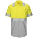 Red Kap SY24YG Short Sleeve Hi-Visibility Color Block Work Shirt: Class 2 Level 2 - SY24