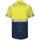 Red Kap SY24YN Hi-Visibility Short Sleeve Colorblock Ripstop Work Shirt - Type R, Class 2