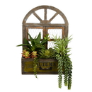 Vickerman FH180901 Asst Succulents in Hanging Wood Box