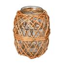 Vickerman FQ195608 8.25 Glass Jar in Woven Wicker