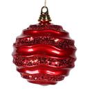 Vickerman M132003 6'' Red Candy Glitter Wave Ball