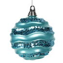 Vickerman M132012 6'' Turquoise Candy Glitter Wave Ball