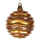 Vickerman M132030 6'' Antiq Gold Candy Glitter Wave Ball