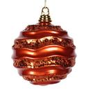 Vickerman M132118 8'' Burn Orange Candy Glitter Wave Ball