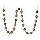 Vickerman M183576 6' Mocha Stripe Ball Ornament Garland
