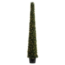 Vickerman TP192073LED 6' Potted Boxwood Cone 200 WmWht LED UV
