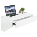 VIVO DESK-SF01W White Floating Wall Mounted Storage Shelf - Wall Hanging Desk Drawer