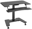 VIVO DESK-V111VT Black Electric Mobile Height Adjustable Two Platform Standing Desk 36