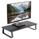 VIVO Black Wood Wide Desktop Stand Ergonomic TV Monitor Riser Desk Organizer