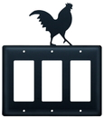 Village Wrought Iron EGGG-1 Rooster - Triple GFI Cover