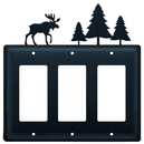 Village Wrought Iron EGGG-22 Moose & Pine Trees - Triple GFI Cover