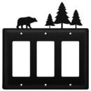 Village Wrought Iron EGGG-83 Bear & Pine Trees - Triple GFI Cover