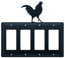 Village Wrought Iron EGGGG-1 Rooster - Quad. GFI Cover