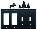 Village Wrought Iron EGGSS-22 Moose & Pine Trees - Double GFI and Double Switch Cover