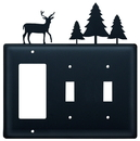 Village Wrought Iron EGSS-203 Deer & Pine Trees - Single GFI and Double Switch Cover