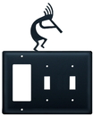 Village Wrought Iron EGSS-56 Kokopelli - Single GFI and Double Switch Cover