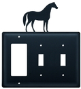 Village Wrought Iron EGSS-68 Horse - Single GFI and Double Switch Cover