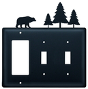 Village Wrought Iron EGSS-83 Bear & Pine Trees - Single GFI and Double Switch Cover
