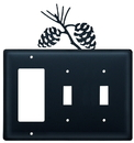 Village Wrought Iron EGSS-89 Pinecone - Single GFI and Double Switch Cover