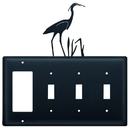 Village Wrought Iron EGSSS-133 Heron - Single GFI and Triple Switch Cover
