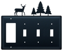 Village Wrought Iron EGSSS-203 Deer & Pine Trees - Single GFI and Triple Switch Cover