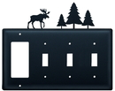 Village Wrought Iron EGSSS-22 Moose & Pine Trees - Single GFI and Triple Switch Cover
