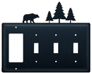 Village Wrought Iron EGSSS-83 Bear & Pine Trees - Single GFI and Triple Switch Cover