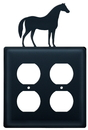 Village Wrought Iron EOO-68 Horse - Double Outlet Cover