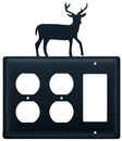 Village Wrought Iron EOOG-3 Deer - Double Outlet and Single GFI Cover