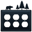 Village Wrought Iron EOOO-83 Bear & Pine Trees - Triple Outlet Cover